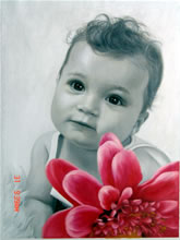 sample oil painting, child portrait, baby portrait, sample portrait painting from photo - 41