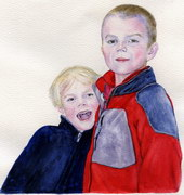 sample portrait painting - children Watercolor